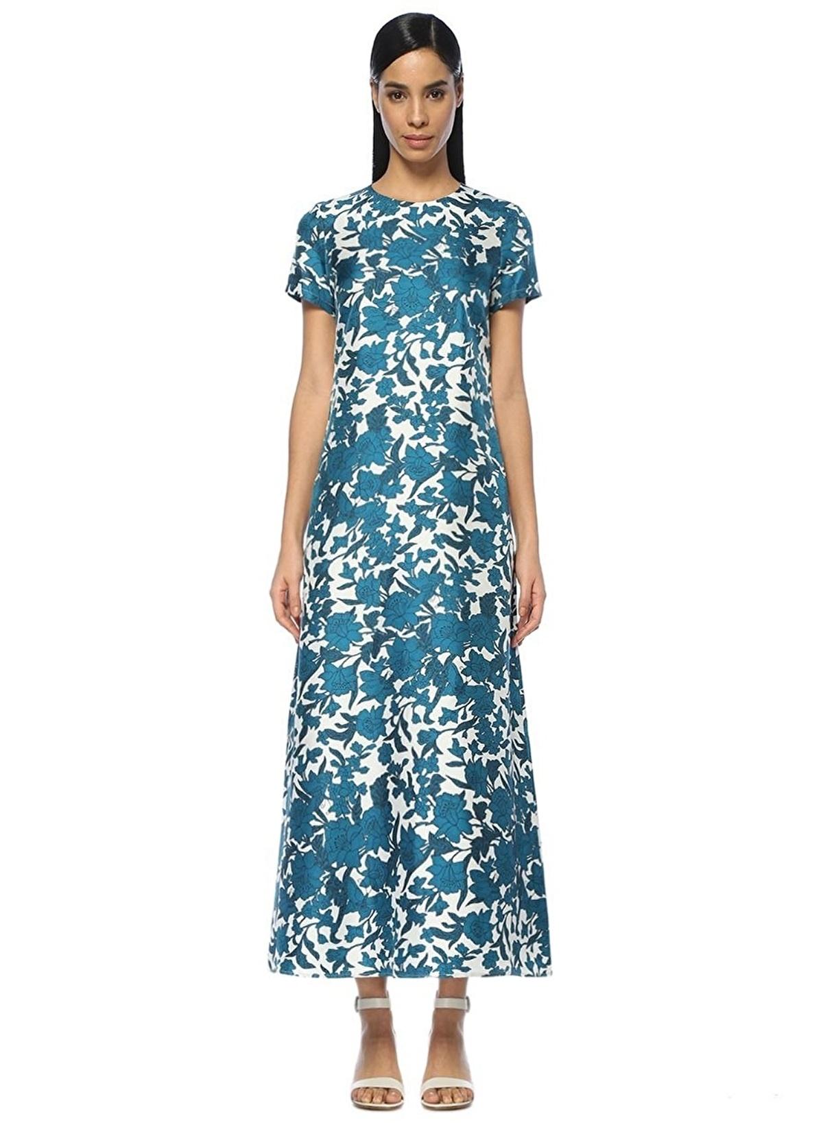 588d0ac7fd737 La Doublej Kadın Kısa Kollu Çiçekli Uzun Elbise Mavi-Beyaz | Morhipo ...